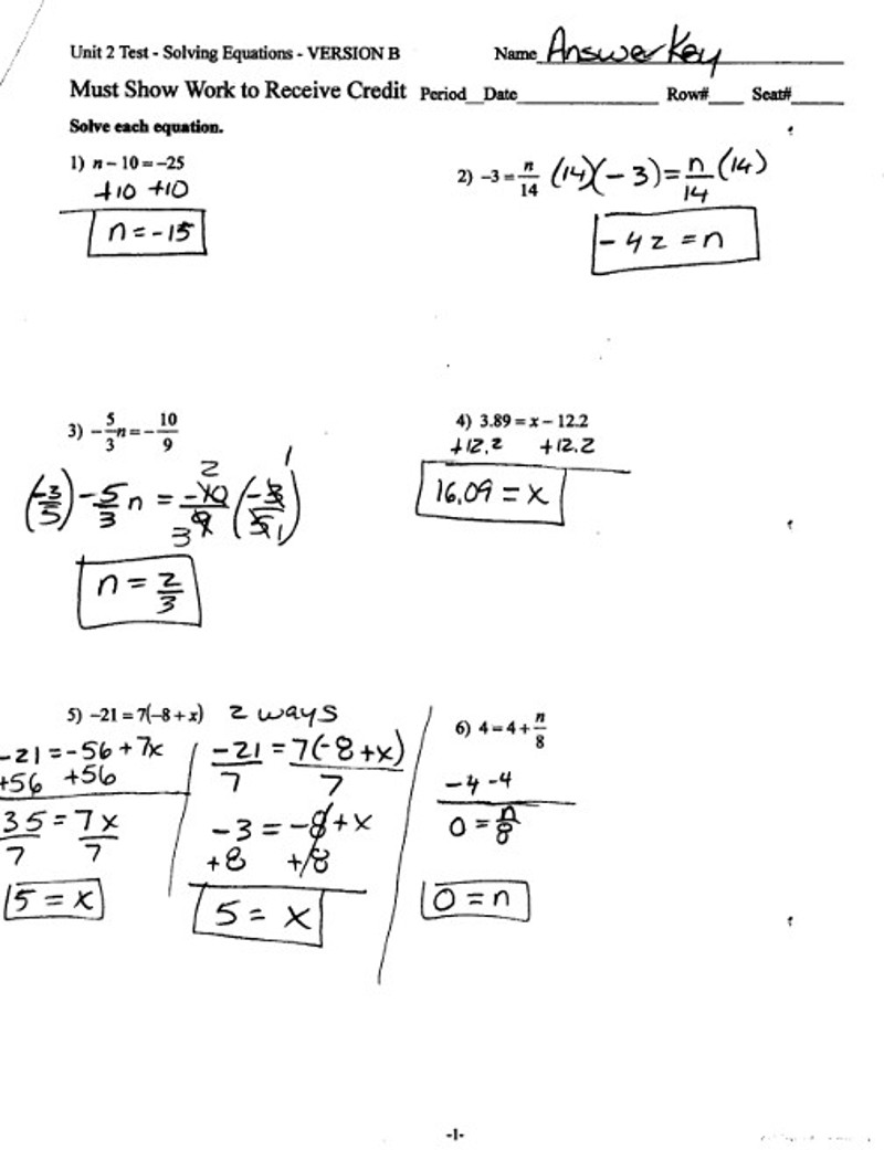 TP2-4 Unit 2 Solving Equations TEST PRACTICE PROBLEMS -